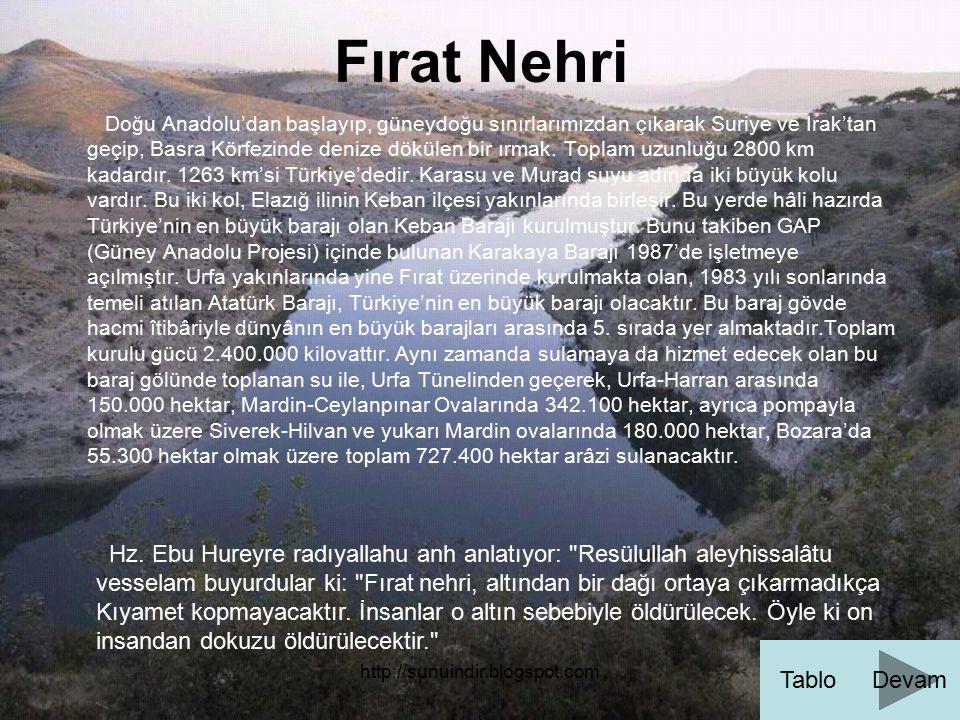 http://sunuindir.blogspot.com Fırat Nehri Doğu Anadolu'dan başlayıp, güneydoğu sınırlarımızdan çıkarak Suriye ve Irak'tan geçip, Basra Körfezinde deni