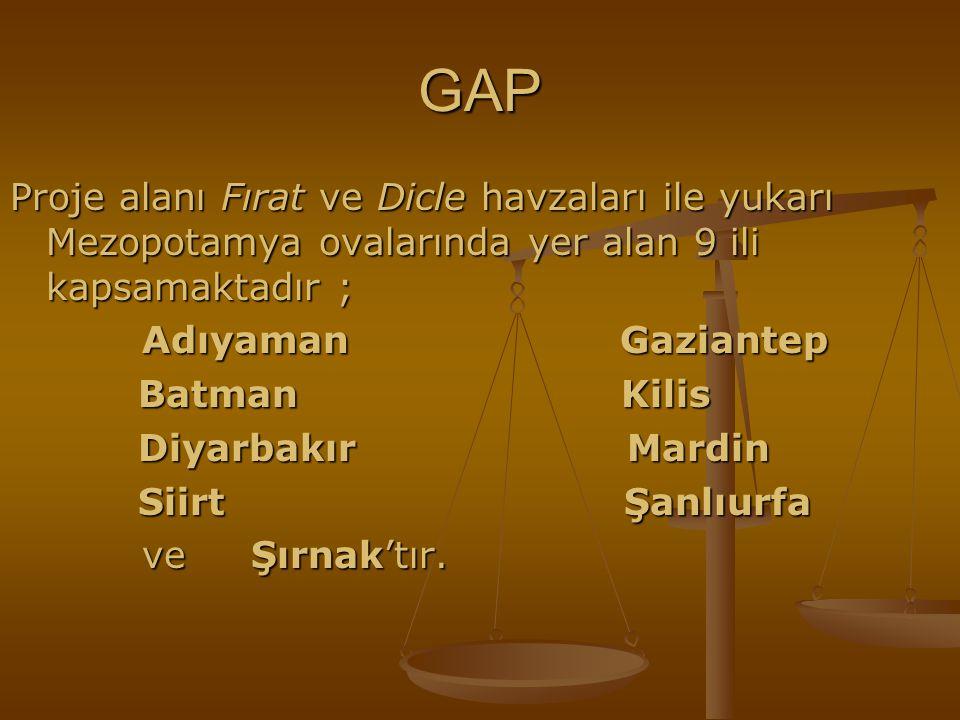 GAP Proje alanı Fırat ve Dicle havzaları ile yukarı Mezopotamya ovalarında yer alan 9 ili kapsamaktadır ; Adıyaman Gaziantep Adıyaman Gaziantep Batman