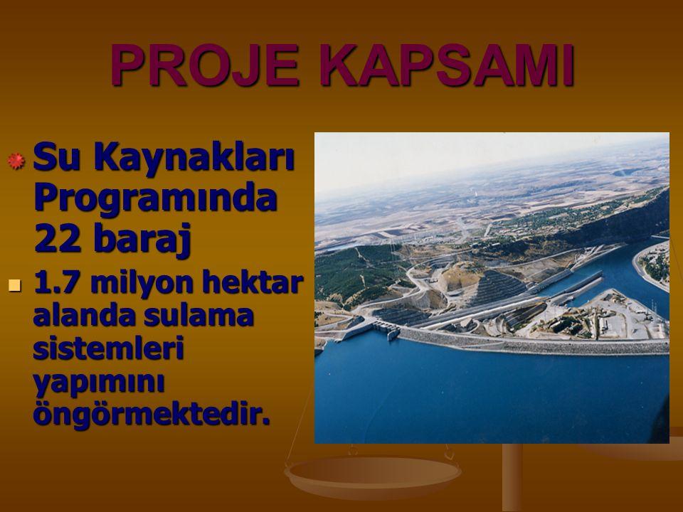 PROJE KAPSAMI Su Kaynakları Programında 22 baraj 1.7 milyon hektar alanda sulama sistemleri yapımını öngörmektedir. 1.7 milyon hektar alanda sulama si