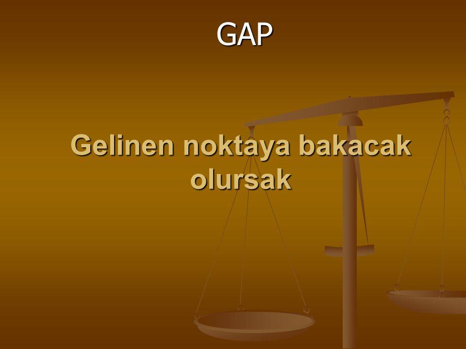 Gelinen noktaya bakacak olursak GAP