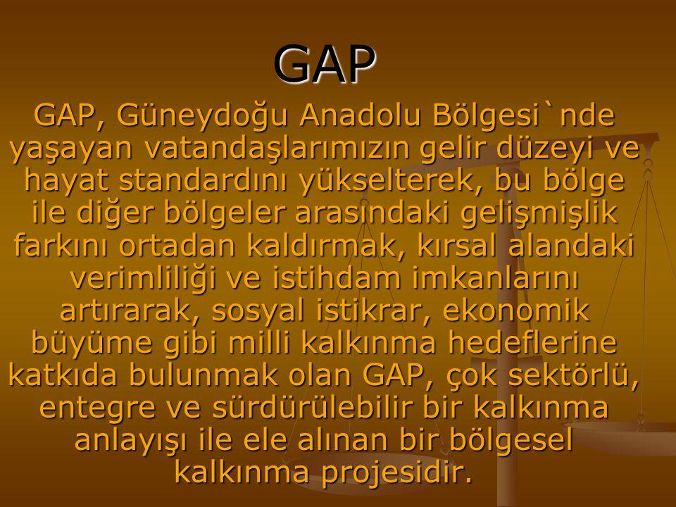 GAP GAP, Güneydoğu Anadolu Bölgesi`nde yaşayan vatandaşlarımızın gelir düzeyi ve hayat standardını yükselterek, bu bölge ile diğer bölgeler arasındaki