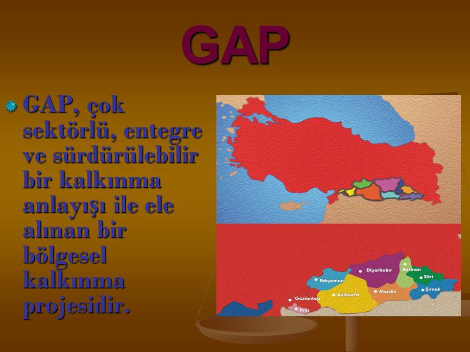 GAP GAP, çok sektörlü, entegre ve sürdürülebilir bir kalkınma anlayı ş ı ile ele alınan bir bölgesel kalkınma projesidir.
