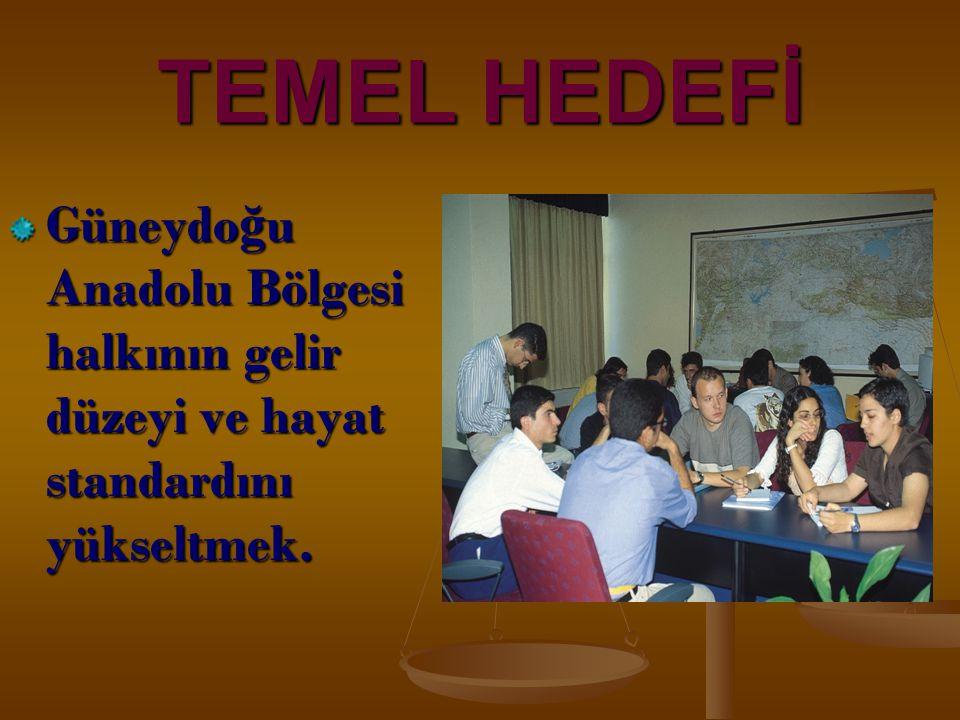 TEMEL HEDEFİ Güneydo ğ u Anadolu Bölgesi halkının gelir düzeyi ve hayat standardını yükseltmek.