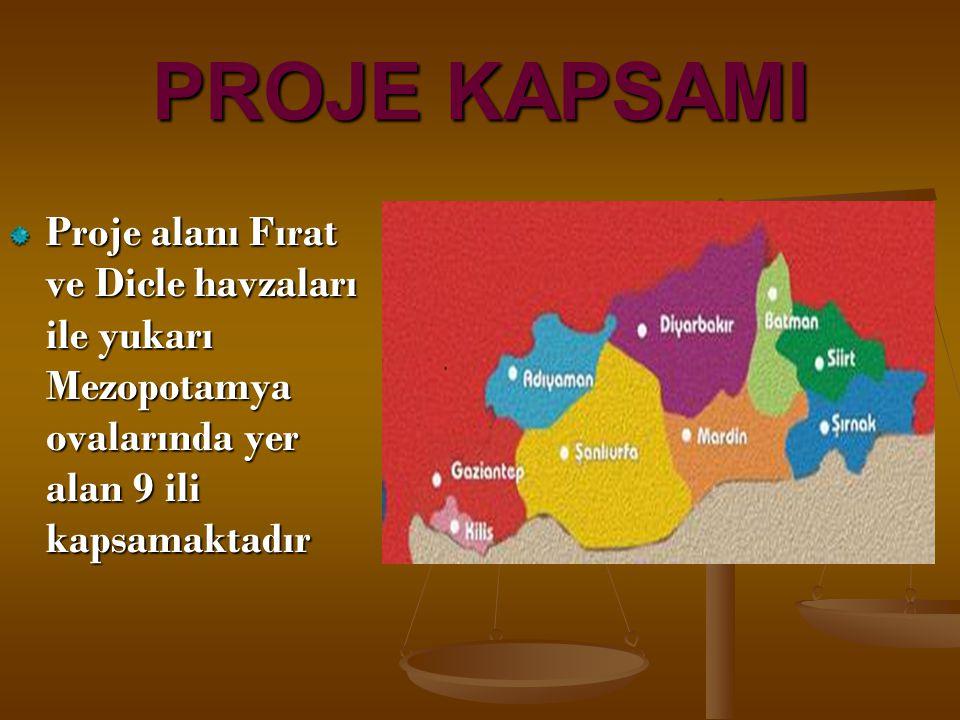 PROJE KAPSAMI Proje alanı Fırat ve Dicle havzaları ile yukarı Mezopotamya ovalarında yer alan 9 ili kapsamaktadır