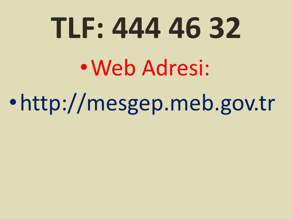 TLF: 444 46 32 Web Adresi: http://mesgep.meb.gov.tr