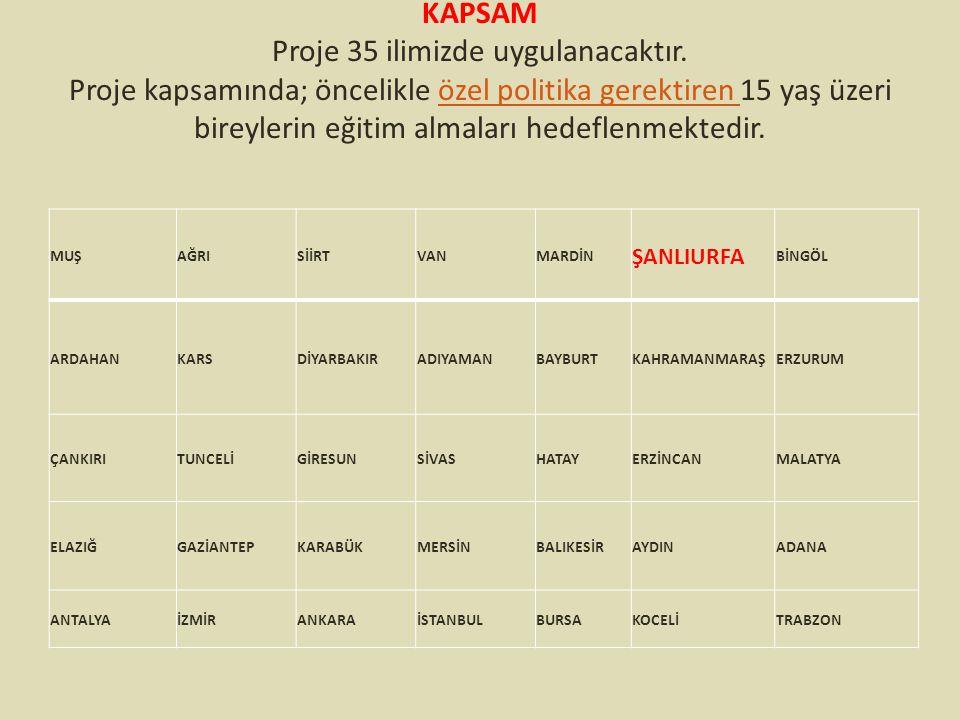 KAPSAM Proje 35 ilimizde uygulanacaktır. Proje kapsamında; öncelikle özel politika gerektiren 15 yaş üzeri bireylerin eğitim almaları hedeflenmektedir