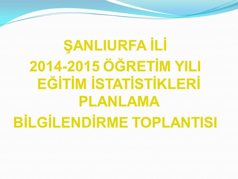 ŞANLIURFA İLİ 2014-2015 ÖĞRETİM YILI EĞİTİM İSTATİSTİKLERİ PLANLAMA BİLGİLENDİRME TOPLANTISI