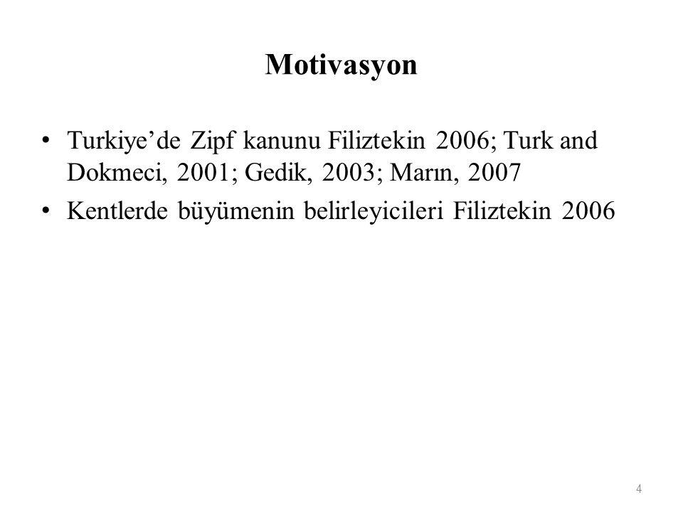 Motivasyon Turkiye'de Zipf kanunu Filiztekin 2006; Turk and Dokmeci, 2001; Gedik, 2003; Marın, 2007 Kentlerde büyümenin belirleyicileri Filiztekin 2006 4
