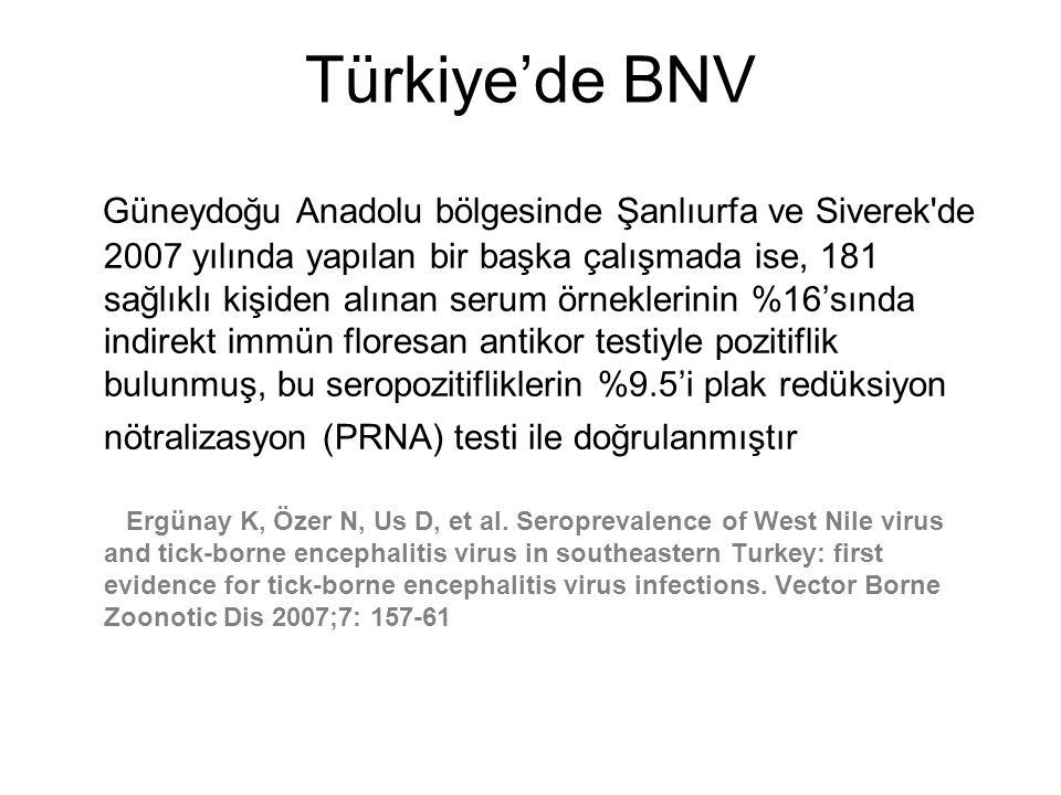 Türkiye'de BNV Güneydoğu Anadolu bölgesinde Şanlıurfa ve Siverek'de 2007 yılında yapılan bir başka çalışmada ise, 181 sağlıklı kişiden alınan serum ör