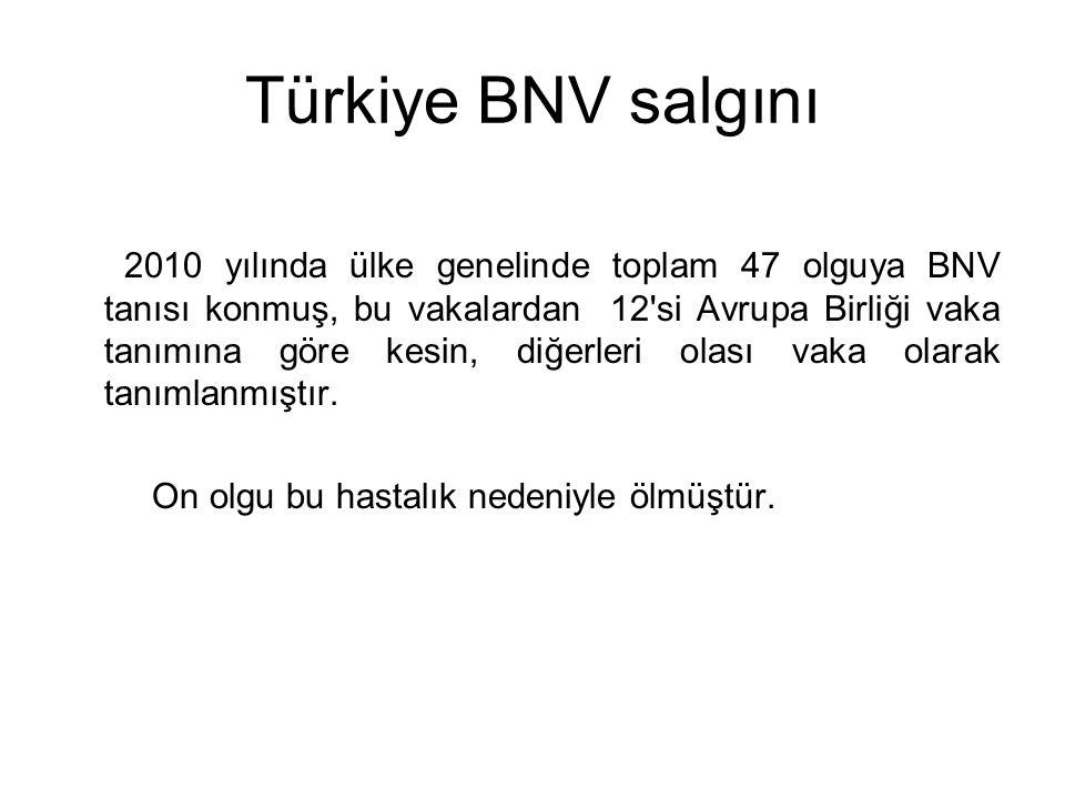 Türkiye BNV salgını 2010 yılında ülke genelinde toplam 47 olguya BNV tanısı konmuş, bu vakalardan 12'si Avrupa Birliği vaka tanımına göre kesin, diğer