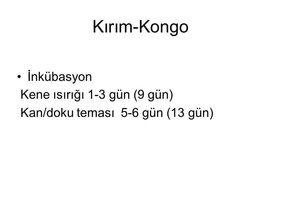 Kırım-Kongo İnkübasyon Kene ısırığı 1-3 gün (9 gün) Kan/doku teması 5-6 gün (13 gün)