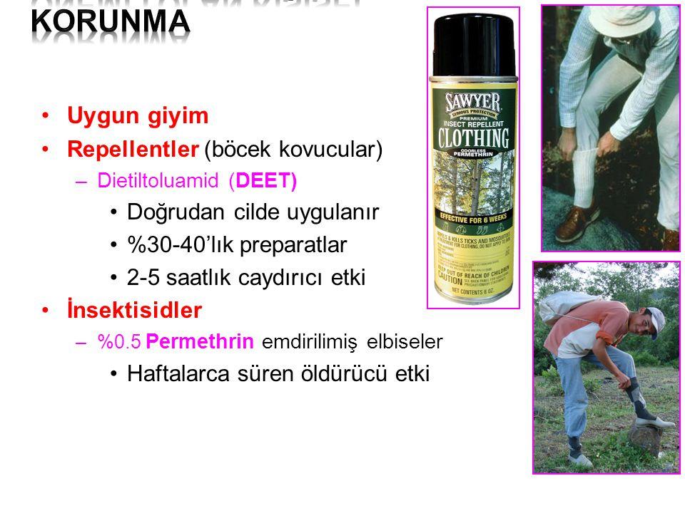 Uygun giyim Repellentler (böcek kovucular) –Dietiltoluamid (DEET) Doğrudan cilde uygulanır %30-40'lık preparatlar 2-5 saatlık caydırıcı etki İnsektisi