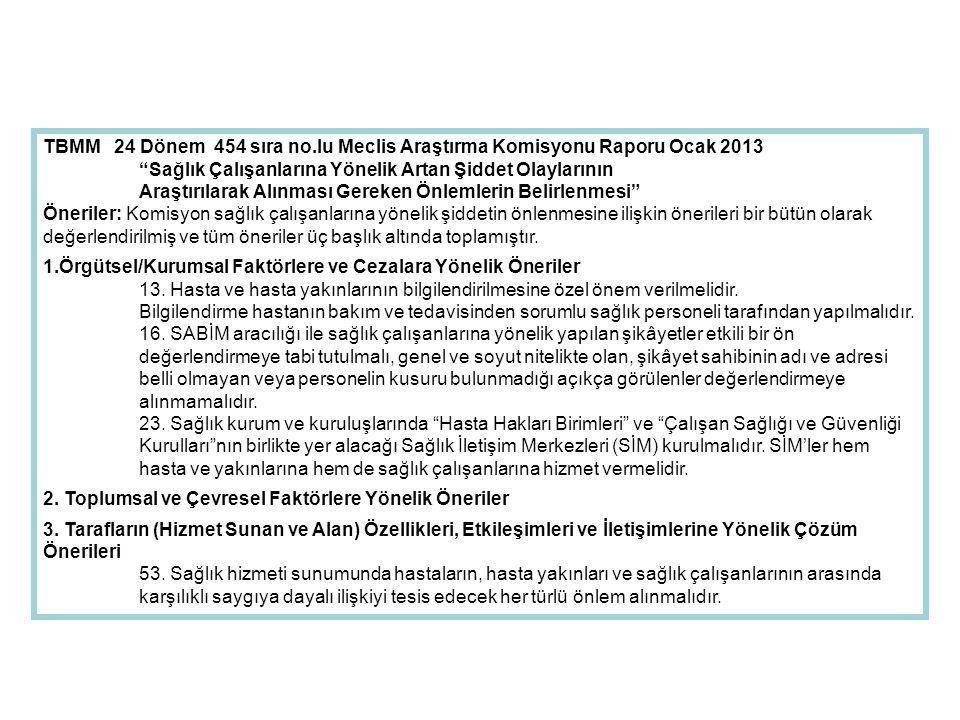 """TBMM 24 Dönem 454 sıra no.lu Meclis Araştırma Komisyonu Raporu Ocak 2013 """"Sağlık Çalışanlarına Yönelik Artan Şiddet Olaylarının Araştırılarak Alınması"""