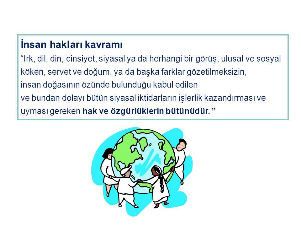 """İnsan hakları kavramı """"Irk, dil, din, cinsiyet, siyasal ya da herhangi bir görüş, ulusal ve sosyal köken, servet ve doğum, ya da başka farklar gözetil"""