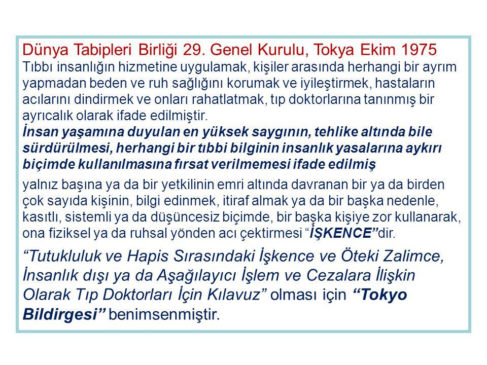 Dünya Tabipleri Birliği 29. Genel Kurulu, Tokya Ekim 1975 Tıbbı insanlığın hizmetine uygulamak, kişiler arasında herhangi bir ayrım yapmadan beden ve
