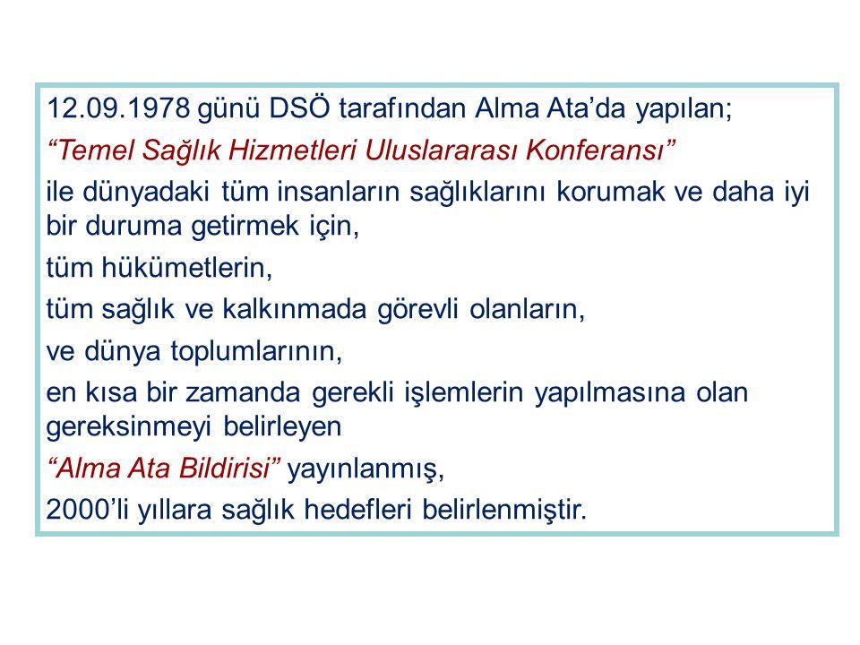 """12.09.1978 günü DSÖ tarafından Alma Ata'da yapılan; """"Temel Sağlık Hizmetleri Uluslararası Konferansı"""" ile dünyadaki tüm insanların sağlıklarını koruma"""