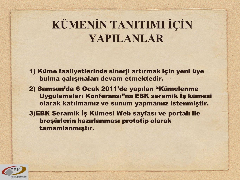 KÜMENİN TANITIMI İÇİN YAPILANLAR 1) Küme faaliyetlerinde sinerji artırmak için yeni üye bulma çalışmaları devam etmektedir. 2) Samsun'da 6 Ocak 2011'd