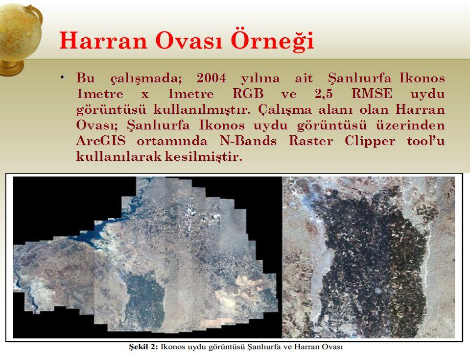 Harran Ovası Örneği Bu çalışmada; 2004 yılına ait Şanlıurfa Ikonos 1metre x 1metre RGB ve 2,5 RMSE uydu görüntüsü kullanılmıştır. Çalışma alanı olan H