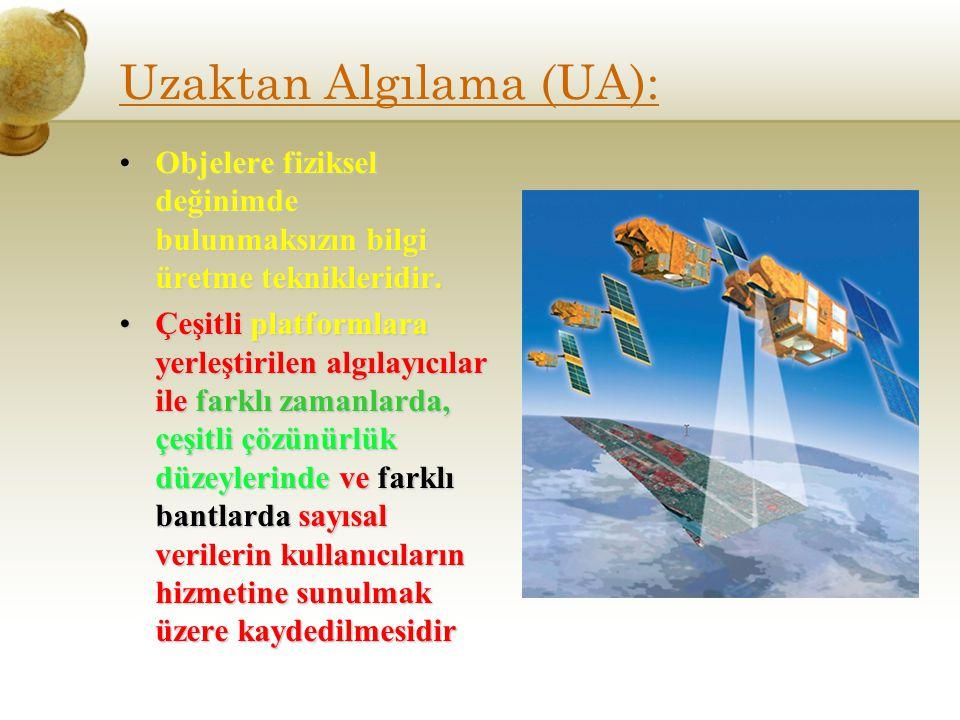Uzaktan Algılama (UA): Objelere fiziksel değinimde bulunmaksızın bilgi üretme teknikleridir.Objelere fiziksel değinimde bulunmaksızın bilgi üretme tek