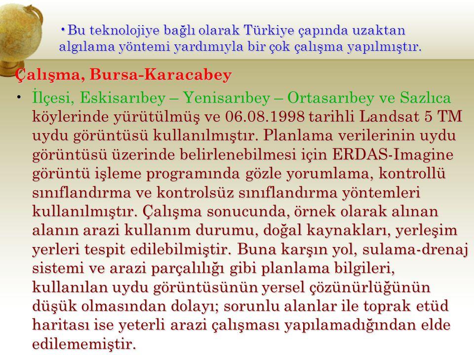 Bu teknolojiye bağlı olarak Türkiye çapında uzaktan algılama yöntemi yardımıyla bir çok çalışma yapılmıştır.Bu teknolojiye bağlı olarak Türkiye çapınd