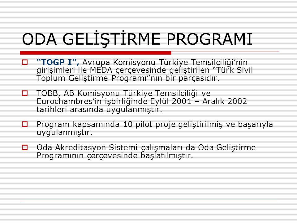 """ODA GELİŞTİRME PROGRAMI  """"TOGP I"""", Avrupa Komisyonu Türkiye Temsilciliği'nin girişimleri ile MEDA çerçevesinde geliştirilen """"Türk Sivil Toplum Gelişt"""