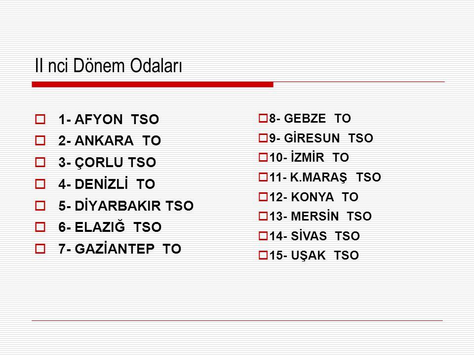 II nci Dönem Odaları  1- AFYON TSO  2- ANKARA TO  3- ÇORLU TSO  4- DENİZLİ TO  5- DİYARBAKIR TSO  6- ELAZIĞ TSO  7- GAZİANTEP TO  8- GEBZE TO  9- GİRESUN TSO  10- İZMİR TO  11- K.MARAŞ TSO  12- KONYA TO  13- MERSİN TSO  14- SİVAS TSO  15- UŞAK TSO