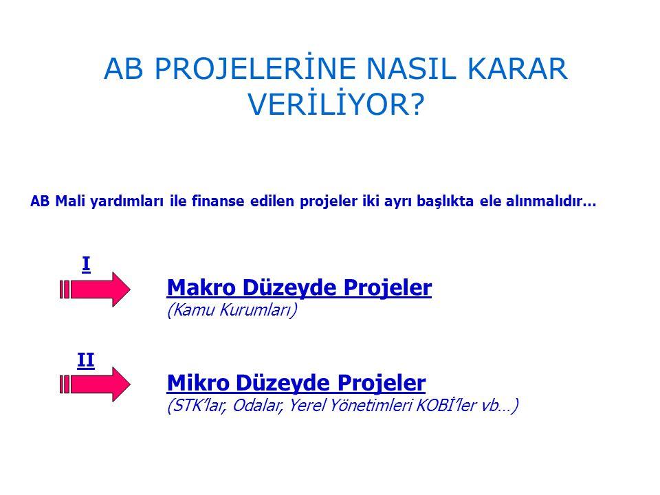 AB Mali yardımları ile finanse edilen projeler iki ayrı başlıkta ele alınmalıdır… I II Makro Düzeyde Projeler (Kamu Kurumları) Mikro Düzeyde Projeler