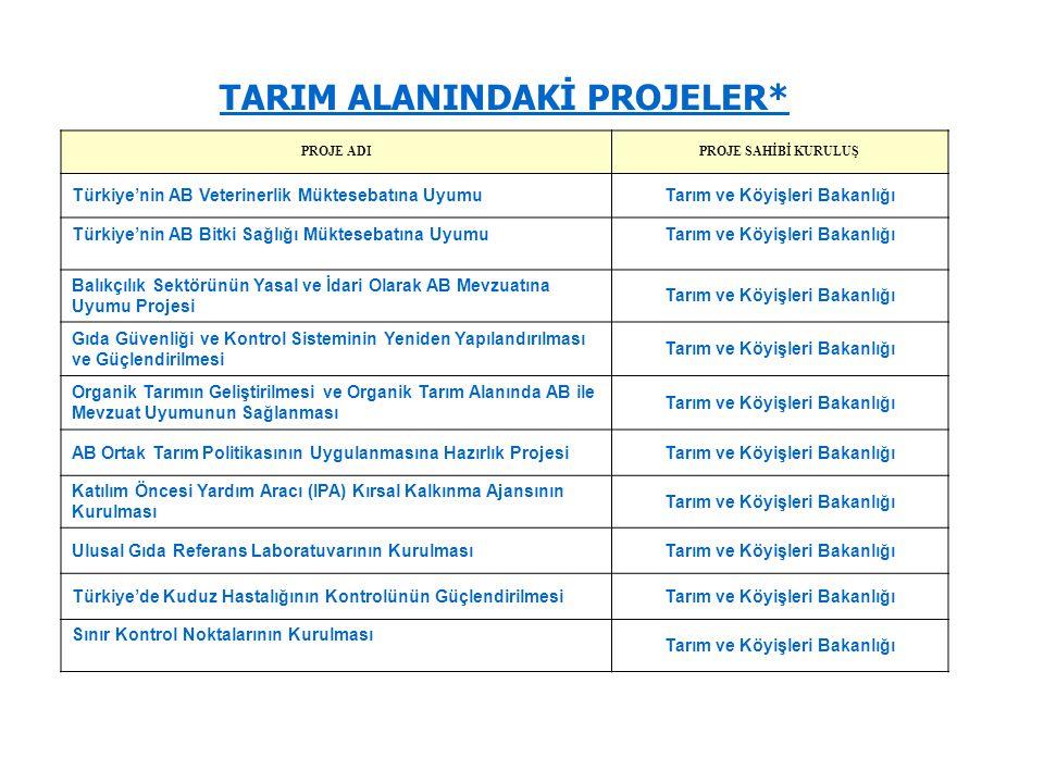 TARIM ALANINDAKİ PROJELER* PROJE ADIPROJE SAHİBİ KURULUŞ Türkiye'nin AB Veterinerlik Müktesebatına UyumuTarım ve Köyişleri Bakanlığı Türkiye'nin AB Bi