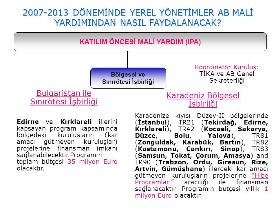Bölgesel ve Sınırötesi İşbirliği KATILIM ÖNCESİ MALİ YARDIM (IPA) 2007-2013 DÖNEMİNDE YEREL YÖNETİMLER AB MALİ YARDIMINDAN NASIL FAYDALANACAK? Edirne
