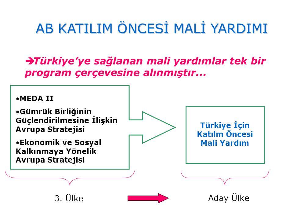  Türkiye'ye sağlanan mali yardımlar tek bir program çerçevesine alınmıştır... MEDA II Gümrük Birliğinin Güçlendirilmesine İlişkin Avrupa Stratejisi E