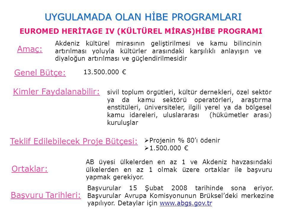 UYGULAMADA OLAN HİBE PROGRAMLARI EUROMED HERİTAGE IV (KÜLTÜREL MİRAS)HİBE PROGRAMI Amaç: Genel Bütçe: 13.500.000 € Kimler Faydalanabilir: Teklif Edile