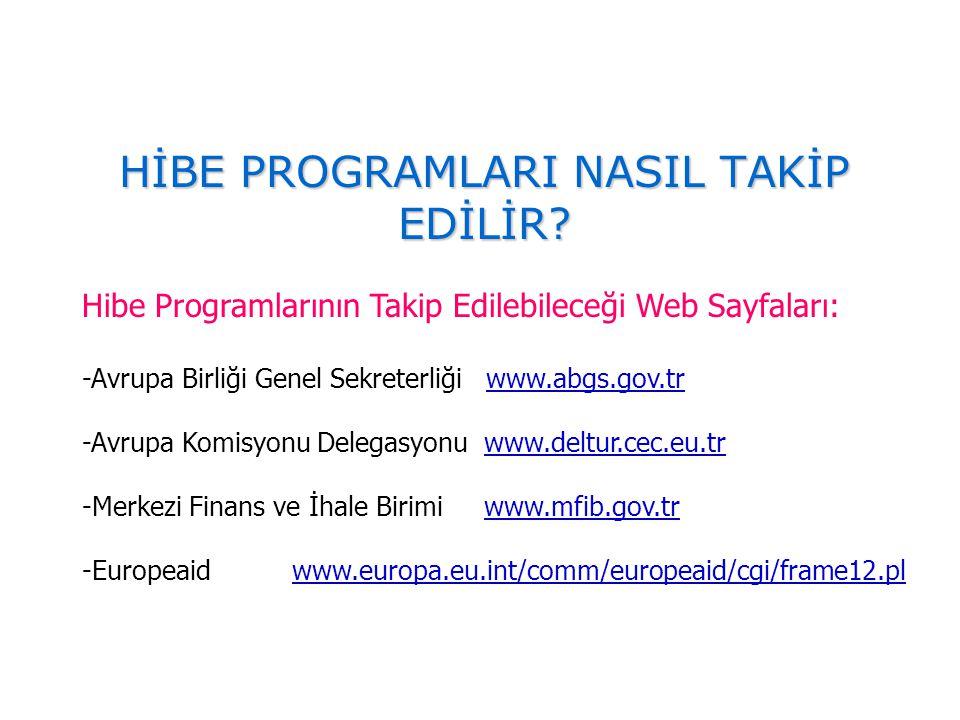 HİBE PROGRAMLARI NASIL TAKİP EDİLİR? Hibe Programlarının Takip Edilebileceği Web Sayfaları: -Avrupa Birliği Genel Sekreterliği www.abgs.gov.trwww.abgs