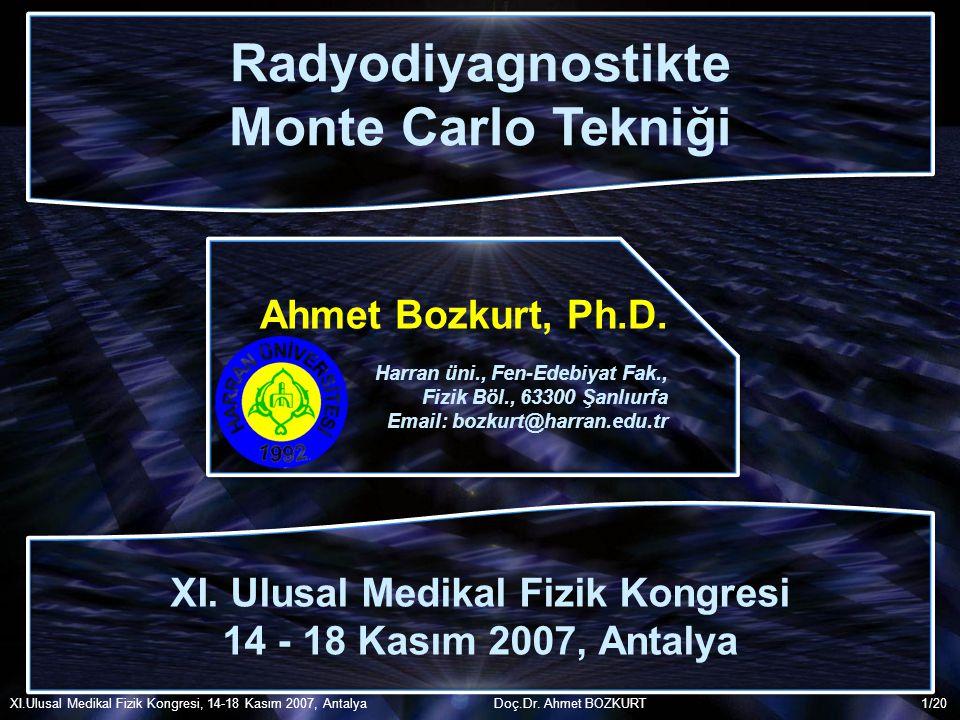 /20 Radyodiyagnostikte Monte Carlo Tekniği Radyodiyagnostikte Monte Carlo Tekniği Ahmet Bozkurt, Ph.D. Harran üni., Fen-Edebiyat Fak., Fizik Böl., 633