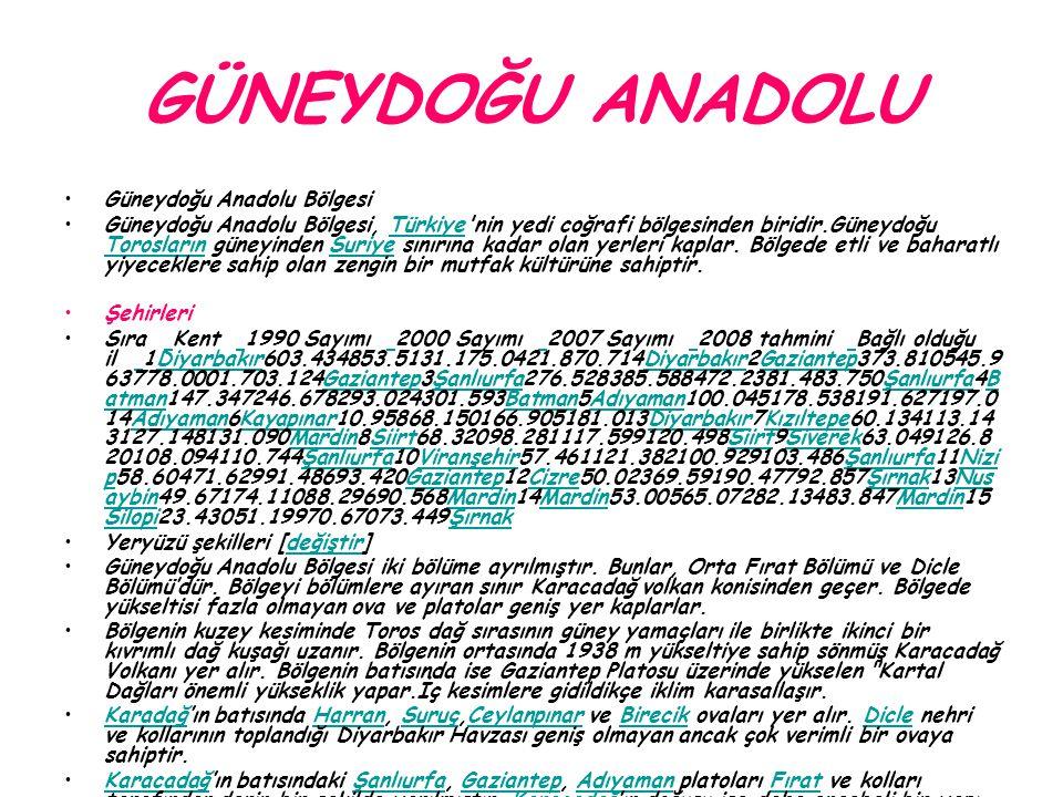 GÜNEYDOĞU ANADOLU Güneydoğu Anadolu Bölgesi Güneydoğu Anadolu Bölgesi, Türkiye'nin yedi coğrafi bölgesinden biridir.Güneydoğu Torosların güneyinden Su