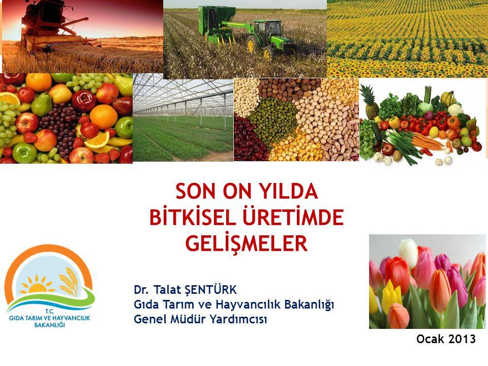 SON ON YILDA BİTKİSEL ÜRETİMDE GELİŞMELER Dr. Talat ŞENTÜRK Gıda Tarım ve Hayvancılık Bakanlığı Genel Müdür Yardımcısı Ocak 2013