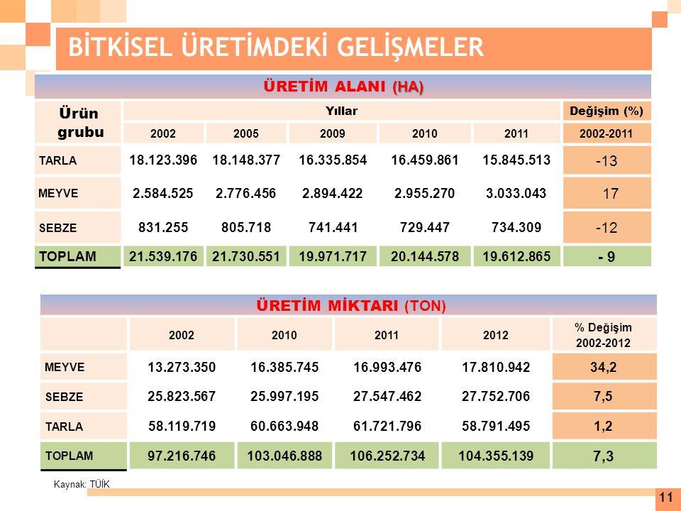 Kaynak: TÜİK 11 BİTKİSEL ÜRETİMDEKİ GELİŞMELER ÜRETİM MİKTARI (TON) 2002201020112012 % Değişim 2002-2012 MEYVE 13.273.35016.385.74516.993.47617.810.94