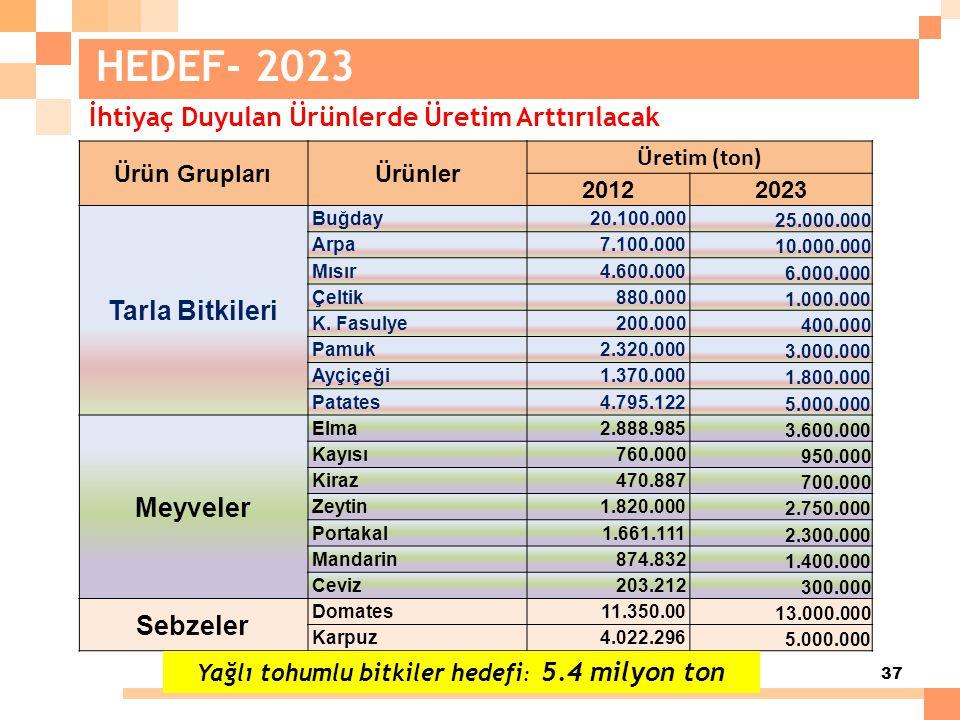 37 HEDEF- 2023 Ürün GruplarıÜrünler Üretim (ton) 20122023 Tarla Bitkileri Buğday20.100.000 25.000.000 Arpa7.100.000 10.000.000 Mısır4.600.000 6.000.00