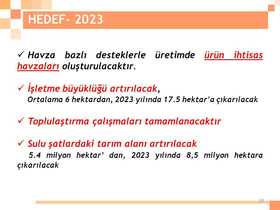 39 Havza bazlı desteklerle üretimde ürün ihtisas havzaları oluşturulacaktır. İşletme büyüklüğü artırılacak, Ortalama 6 hektardan, 2023 yılında 17.5 he