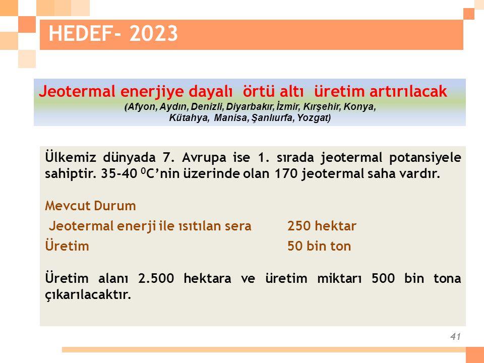 41 HEDEF- 2023 Ülkemiz dünyada 7. Avrupa ise 1. sırada jeotermal potansiyele sahiptir. 35-40 0 C'nin üzerinde olan 170 jeotermal saha vardır. Mevcut D