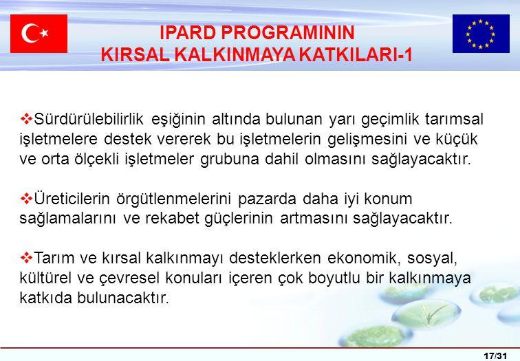 17/31 IPARD PROGRAMININ KIRSAL KALKINMAYA KATKILARI-1  Sürdürülebilirlik eşiğinin altında bulunan yarı geçimlik tarımsal işletmelere destek vererek bu işletmelerin gelişmesini ve küçük ve orta ölçekli işletmeler grubuna dahil olmasını sağlayacaktır.