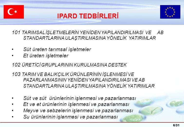 7/31 302 KIRSAL EKONOMİK FAALİYETLERİN ÇEŞİTLENDİRİLMESİ VE GELİŞTİRİLMESİNE YÖNELİK DESTEKLER Çiftlik faaliyetlerinin çeşitlendirilmesi ve geliştirilmesi Yerel ürünler ve mikro işletmelerin geliştirilmesi Kırsal turizm Kültür balıkçılığının geliştirilmesi UYGULAMA İLLERİ Afyonkarahisar,Amasya,Balıkesir,Çorum,Diyarbakır,Erzurum, Hatay,Isparta,Kahramanmaraş,Kars,Konya,Malatya,Ordu, Samsun,Sivas,Şanlıurfa,Tokat,Trabzon,Van,Yozgat IPARD TEDBİRLERİ