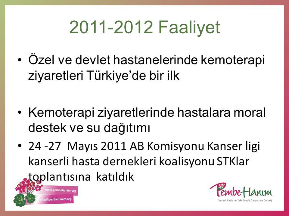 2011-2012 Faaliyet Özel ve devlet hastanelerinde kemoterapi ziyaretleri Türkiye'de bir ilk Kemoterapi ziyaretlerinde hastalara moral destek ve su dağı