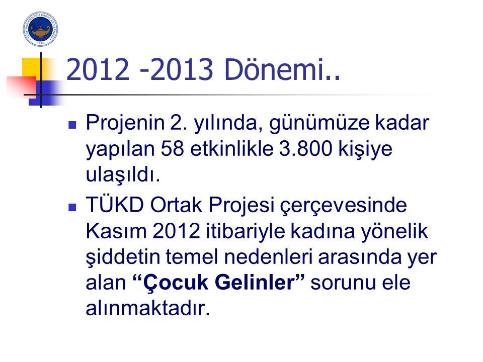 2012 -2013 Dönemi.. Projenin 2. yılında, günümüze kadar yapılan 58 etkinlikle 3.800 kişiye ulaşıldı. TÜKD Ortak Projesi çerçevesinde Kasım 2012 itibar
