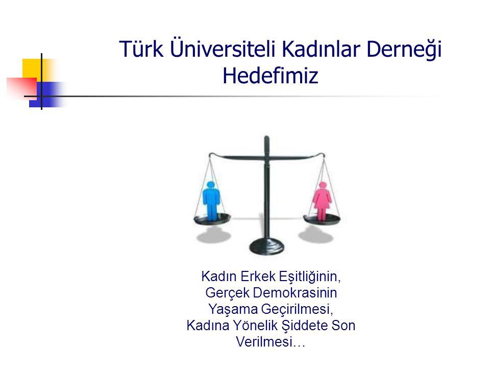 Türk Üniversiteli Kadınlar Derneği Hedefimiz Kadın Erkek Eşitliğinin, Gerçek Demokrasinin Yaşama Geçirilmesi, Kadına Yönelik Şiddete Son Verilmesi…
