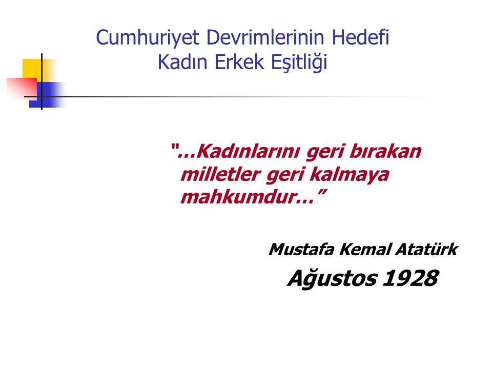 """Cumhuriyet Devrimlerinin Hedefi Kadın Erkek Eşitliği """"…Kadınlarını geri bırakan milletler geri kalmaya mahkumdur…"""" Mustafa Kemal Atatürk Ağustos 1928"""