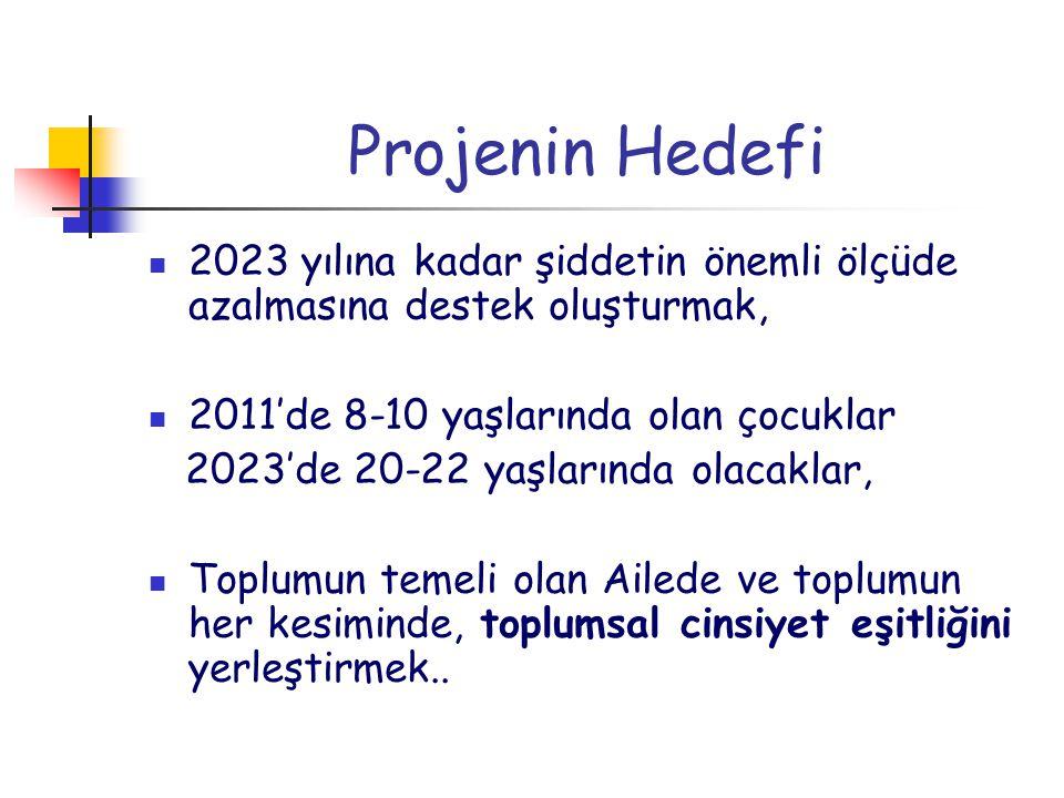 Projenin Hedefi 2023 yılına kadar şiddetin önemli ölçüde azalmasına destek oluşturmak, 2011'de 8-10 yaşlarında olan çocuklar 2023'de 20-22 yaşlarında