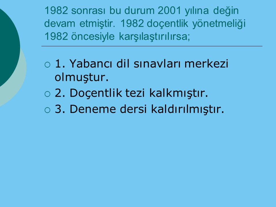 1982 sonrası bu durum 2001 yılına değin devam etmiştir. 1982 doçentlik yönetmeliği 1982 öncesiyle karşılaştırılırsa;  1. Yabancı dil sınavları merkez