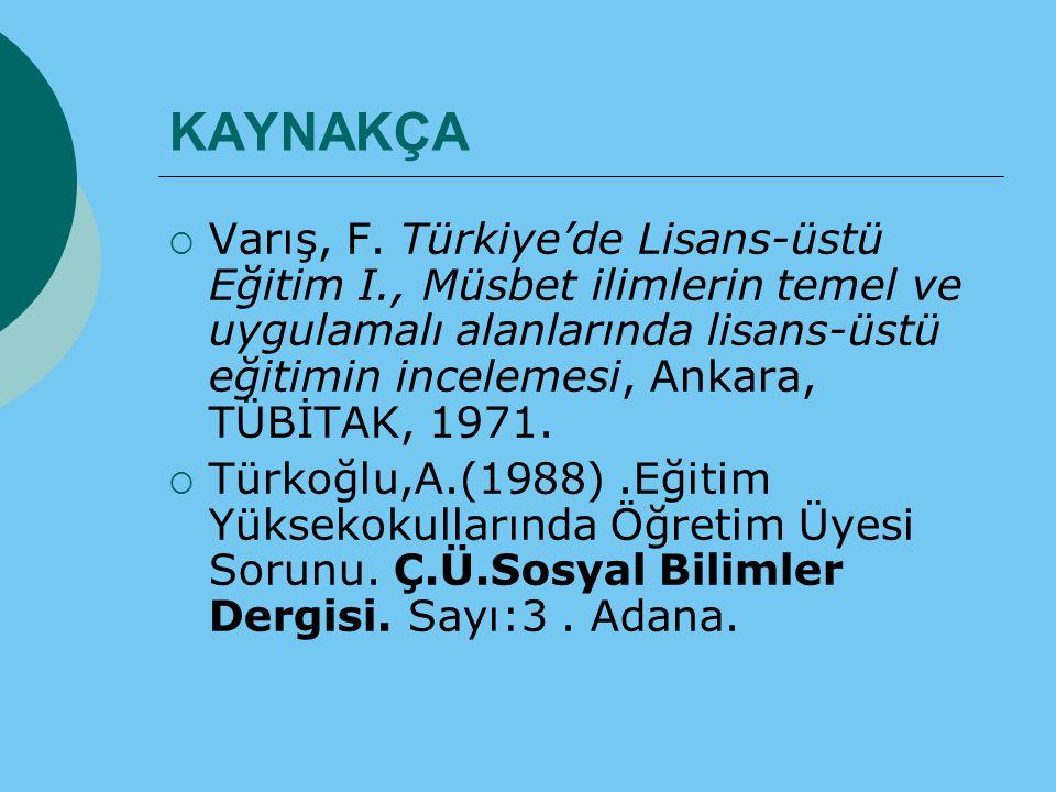 KAYNAKÇA  Varış, F. Türkiye'de Lisans-üstü Eğitim I., Müsbet ilimlerin temel ve uygulamalı alanlarında lisans-üstü eğitimin incelemesi, Ankara, TÜBİT