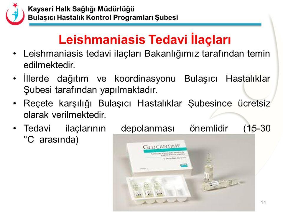 Leishmaniasis Tedavi İlaçları Leishmaniasis tedavi ilaçları Bakanlığımız tarafından temin edilmektedir. İllerde dağıtım ve koordinasyonu Bulaşıcı Hast