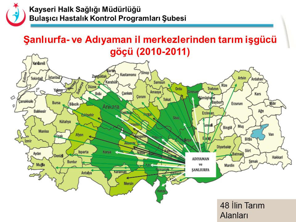19 Şanlıurfa- ve Adıyaman il merkezlerinden tarım işgücü göçü (2010-2011) 48 İlin Tarım Alanları